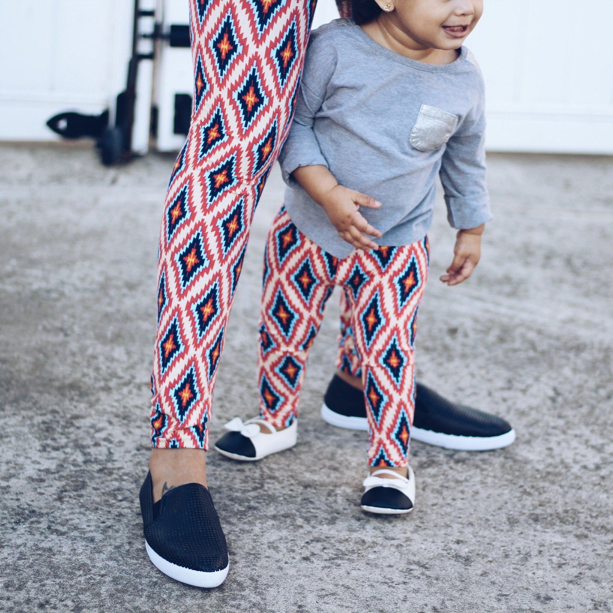 Leggings - Matching Mom And Baby Leggings - Diamond Aztec
