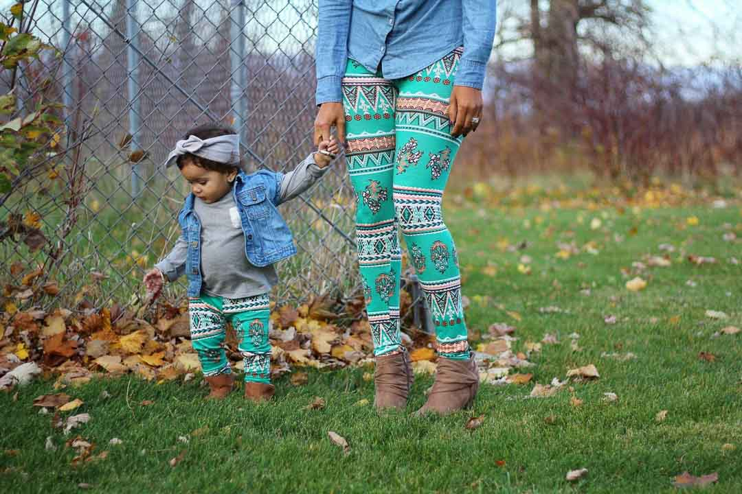 Leggings - Mommy And Me Leggings - Turquoise Tribal