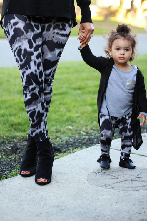 Leggings - Mommy And Me Yoga Pants - Black And Grey