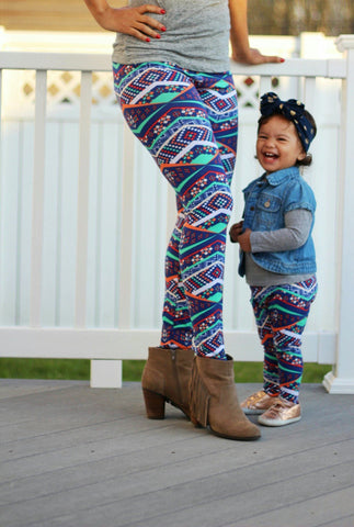 Matching Mom and Baby Leggings - Diamond Aztec