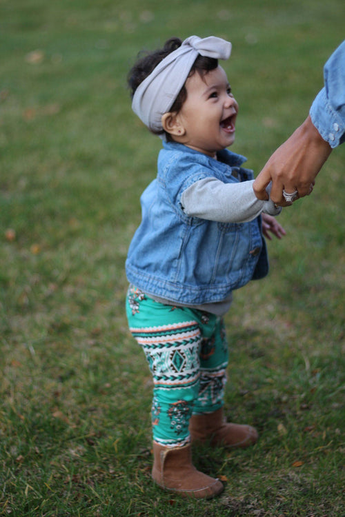 Leggings - Toddler Turquoise Leggings- Tribal Print