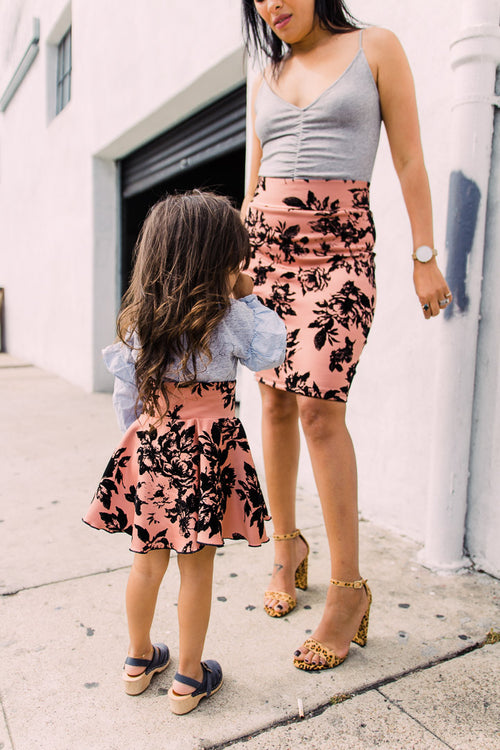 mommy and me pink matching skirts