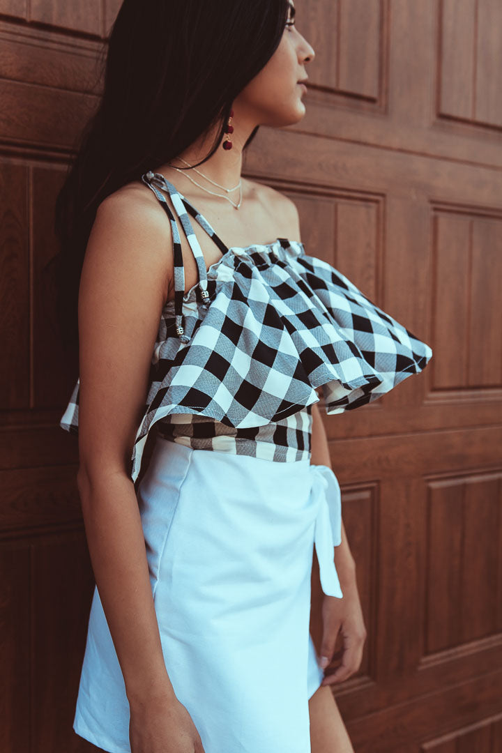 plaid off the shoulder top, black and white