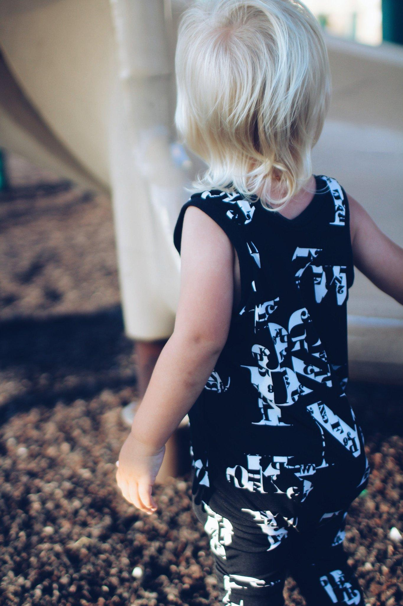 Romper - Baby Boy Sleeveless Romper - Black & White