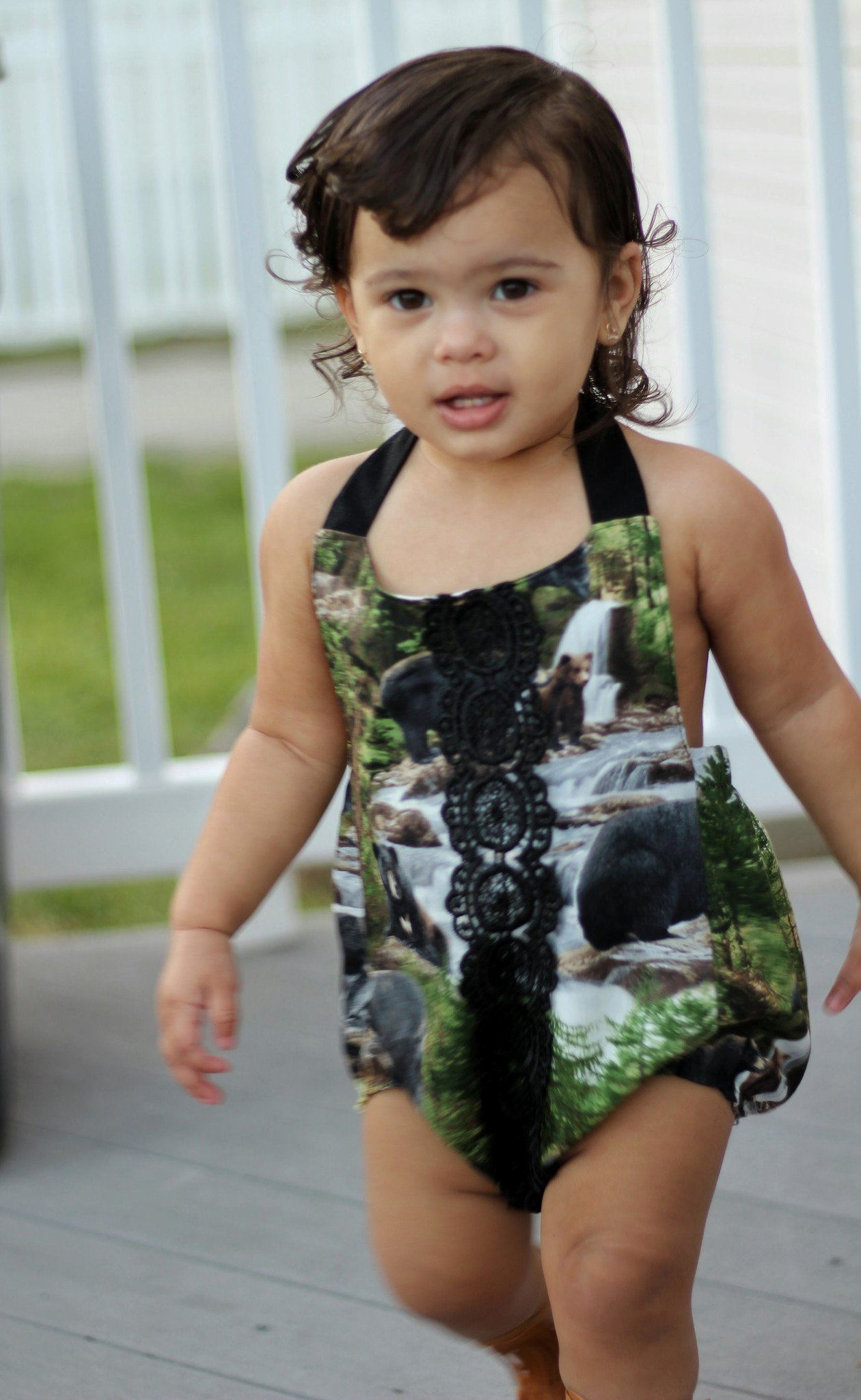 Romper - Baby Girl Romper Suit - Camouflage Nature Lace
