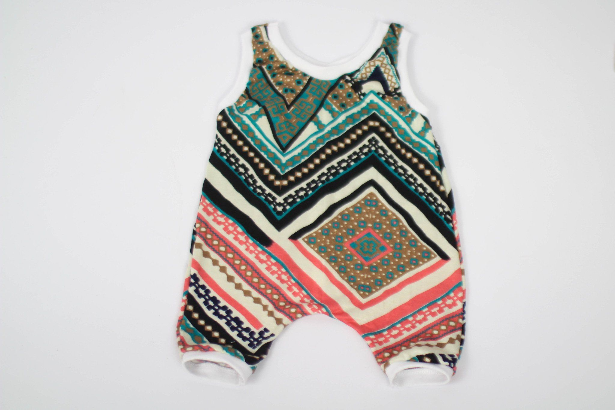 Romper - Boho Romper For Baby - Red & Green