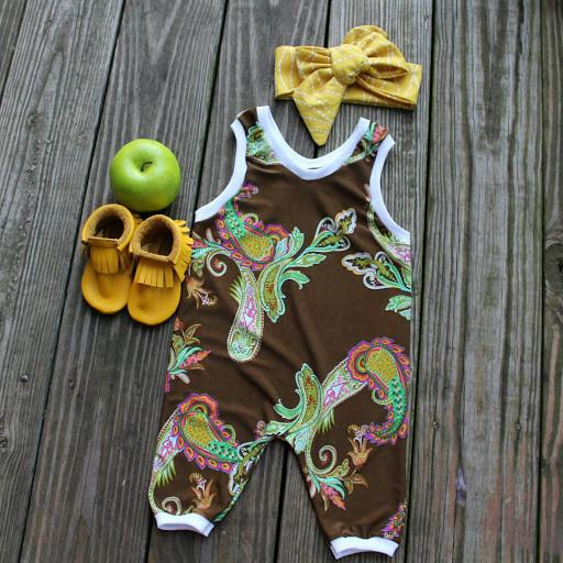 Romper - Custom Made Baby Girl Romper - Paisley Brown