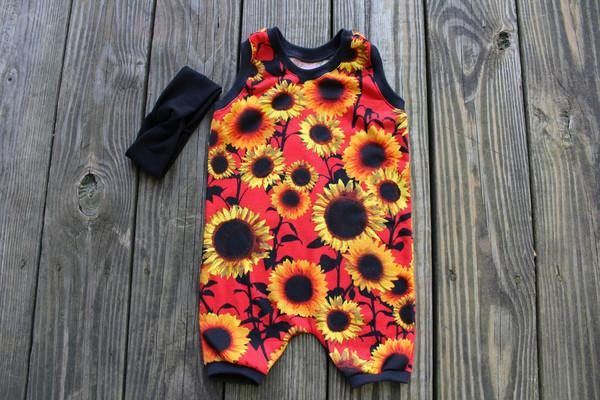8f0f964a570c8 Red Sunflower Romper for a Baby Girl - Fall Romper for Toddler Girl ...