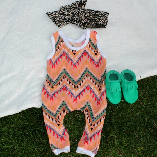 Romper - Tribal Girl Romper - Aztec Inspired Newborn Baby Outfit