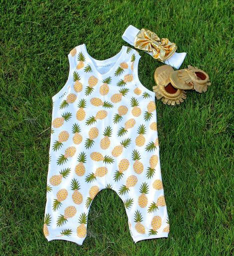 Romper - Tropical Colada - Pineapple Romper For Baby Girl Outfit
