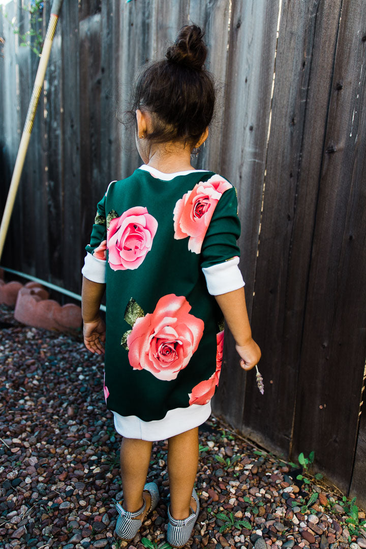 rose dress for toddler girl, green color