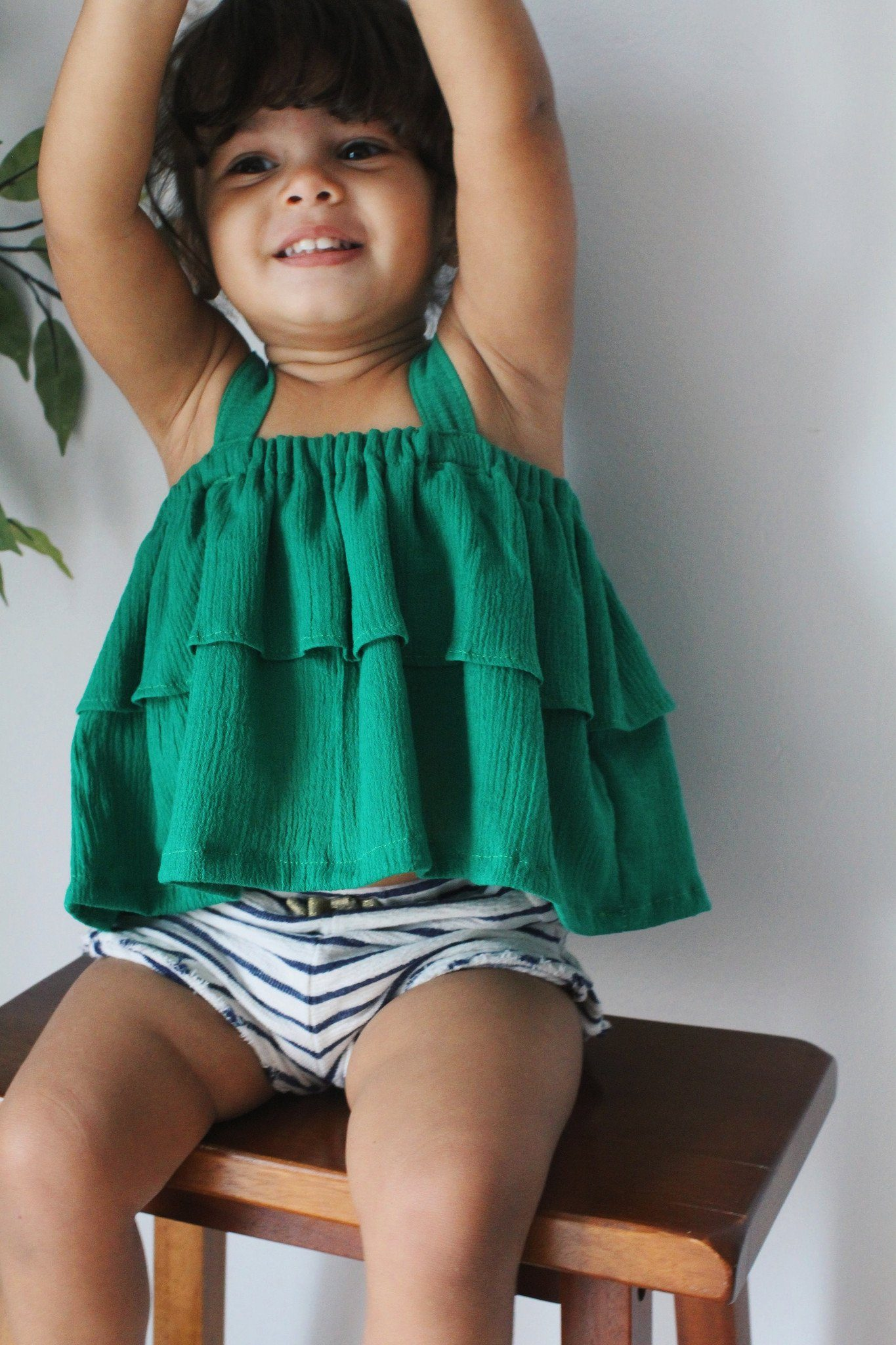 Shirt - Green Ruffle Shirt For Toddler Girls
