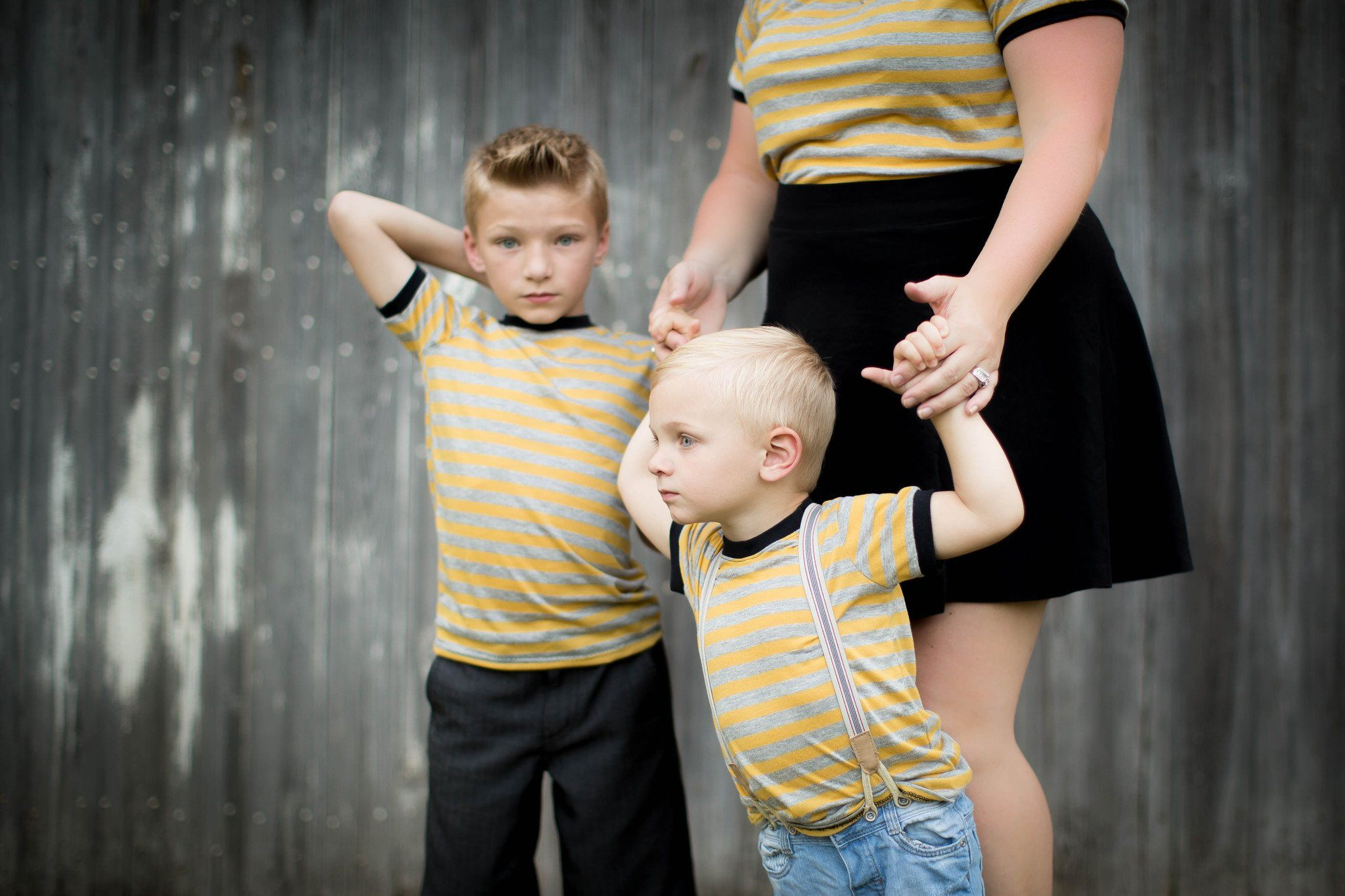 Shirt - Mom And Son Matching Shirts - Mustard Stripe