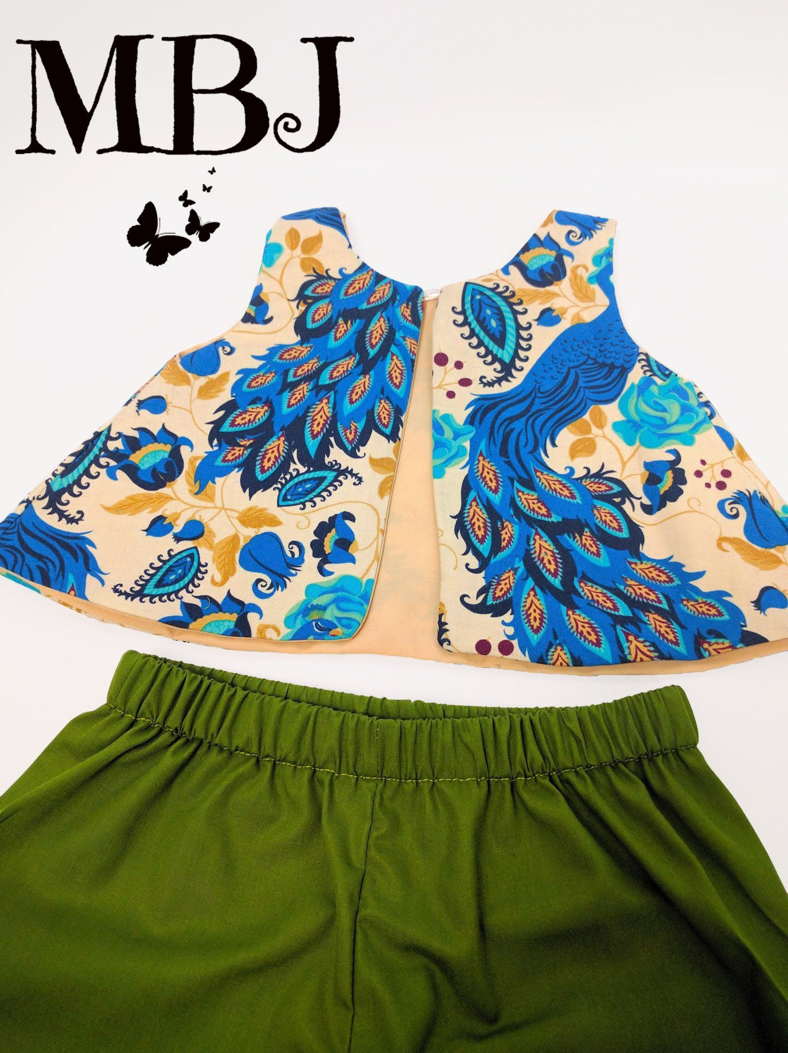 0d9368d1af Toddler Crop Top for Girl Blue Peacock - Open Back Top for little ...