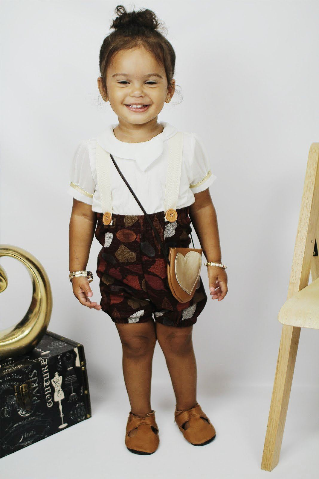 Shorts - Suspender Shorts For Baby Girl - Fall Leaves