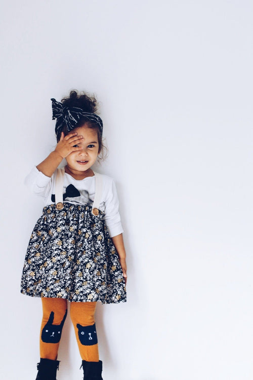 Skirt - High Waisted Floral Skirt For Baby Girls