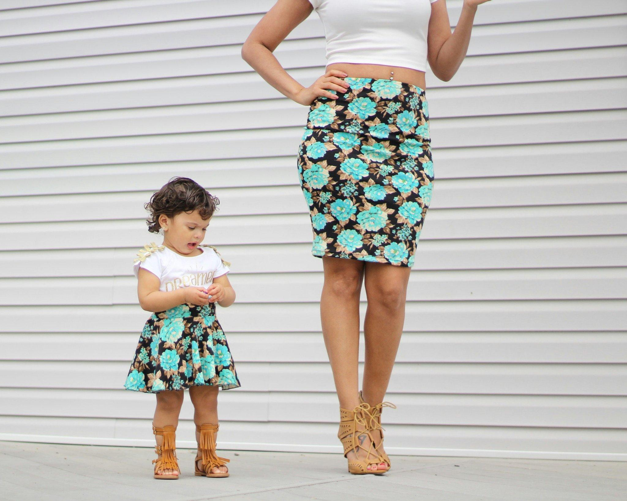 Skirt - Mommy And Me Matching Skirts - Turquoise Flowers