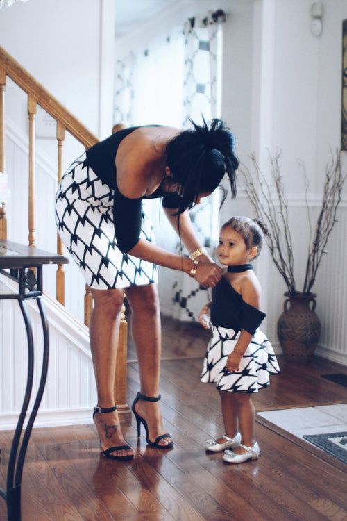Skirt - Mother Daughter Matching Skirts - Black And White