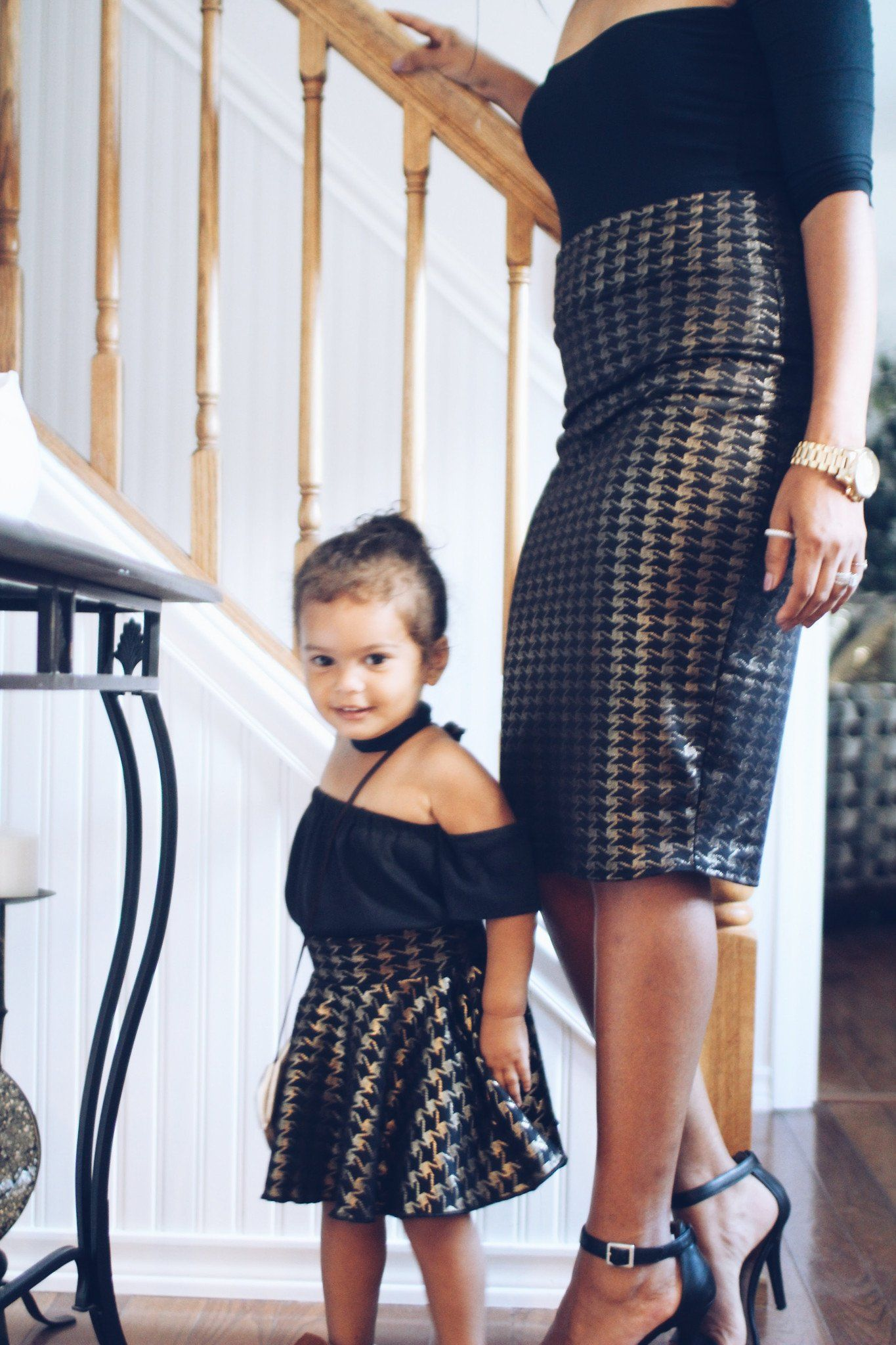 f707622da Mother Daughter Matching Skirts - Houndstooth Gold - Mommy & Me ...