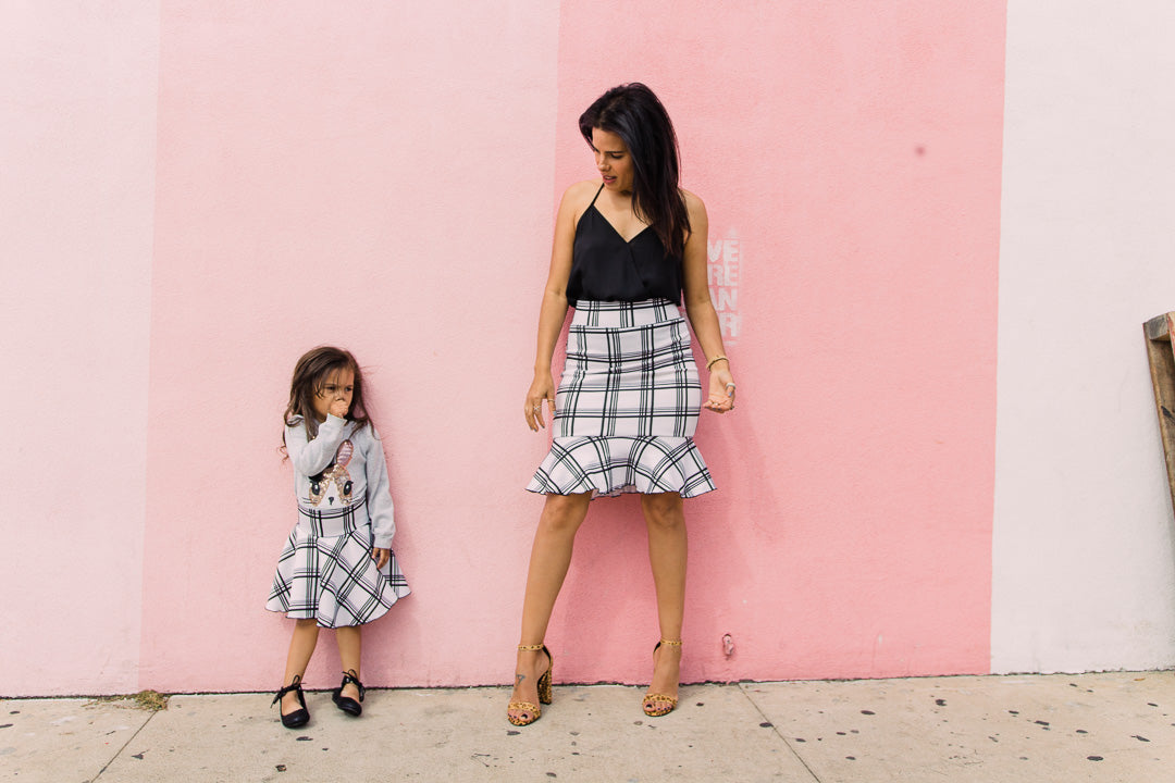 skirts for mom and daughter, plaid set