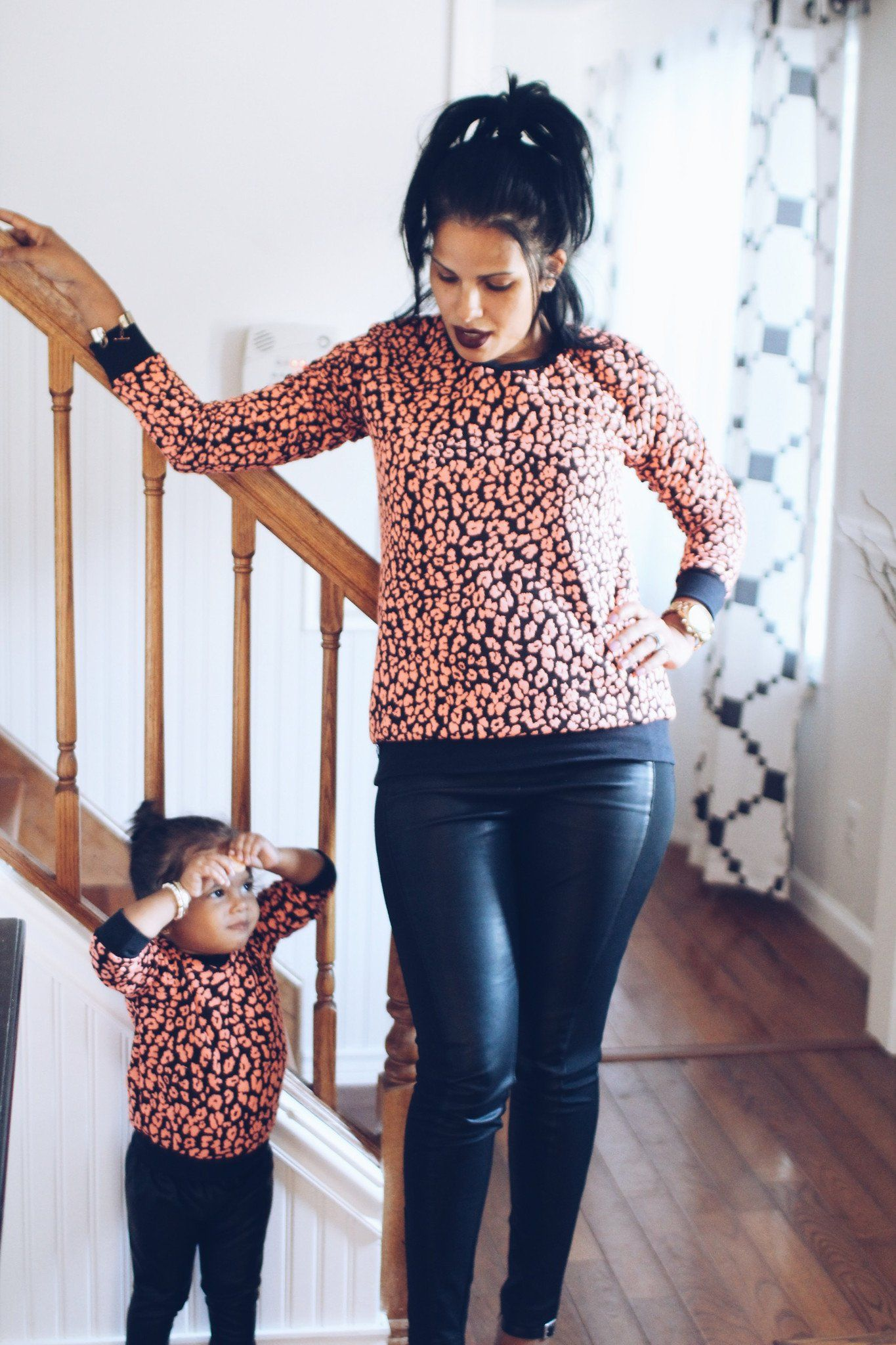 Sweater - Mommy And Me Matching Sweaters - Black And Coral Cheetah Print