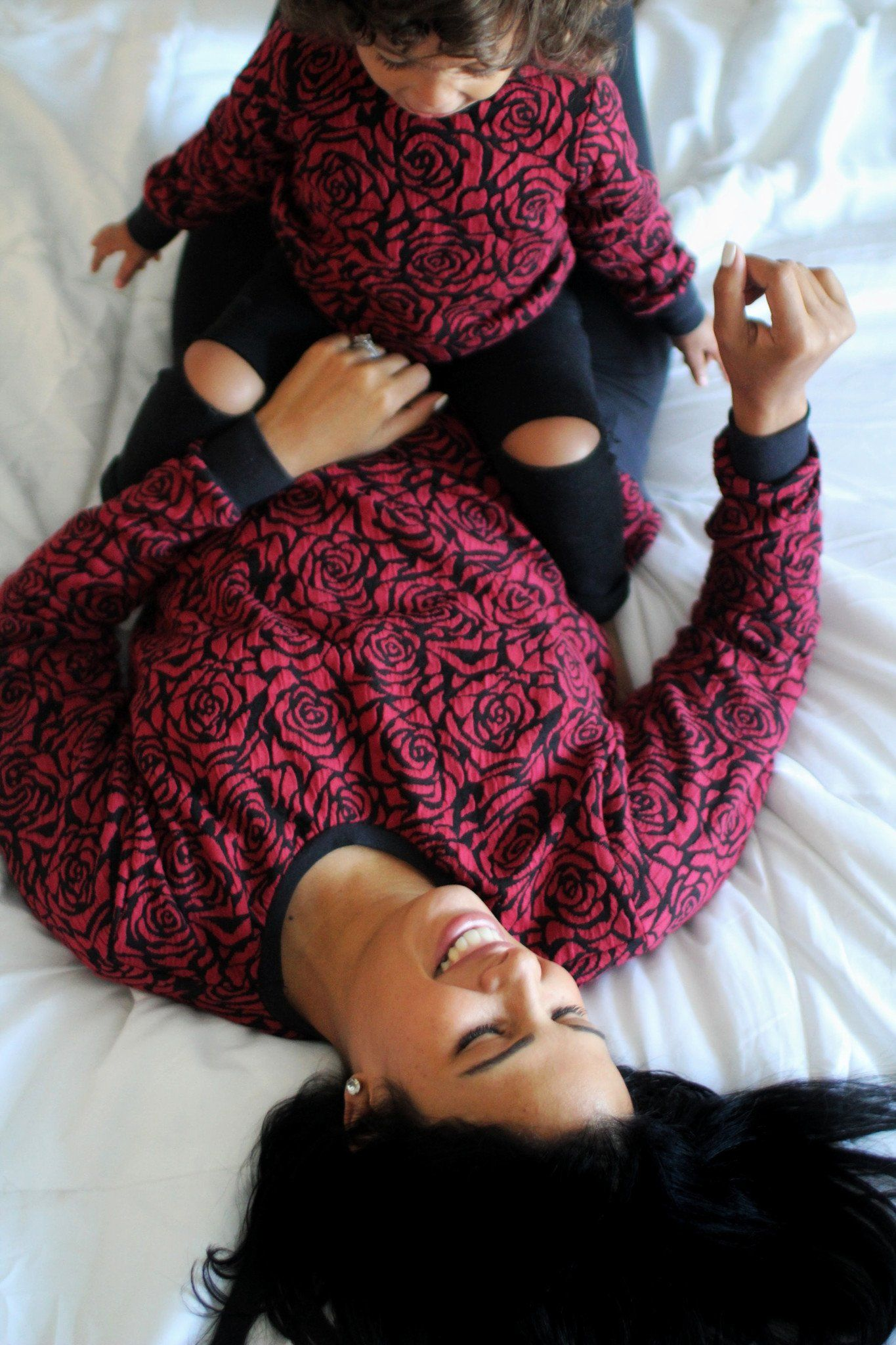 Sweater - Rose Pattern Sweatshirt For Mommy And Me Matching Outfit