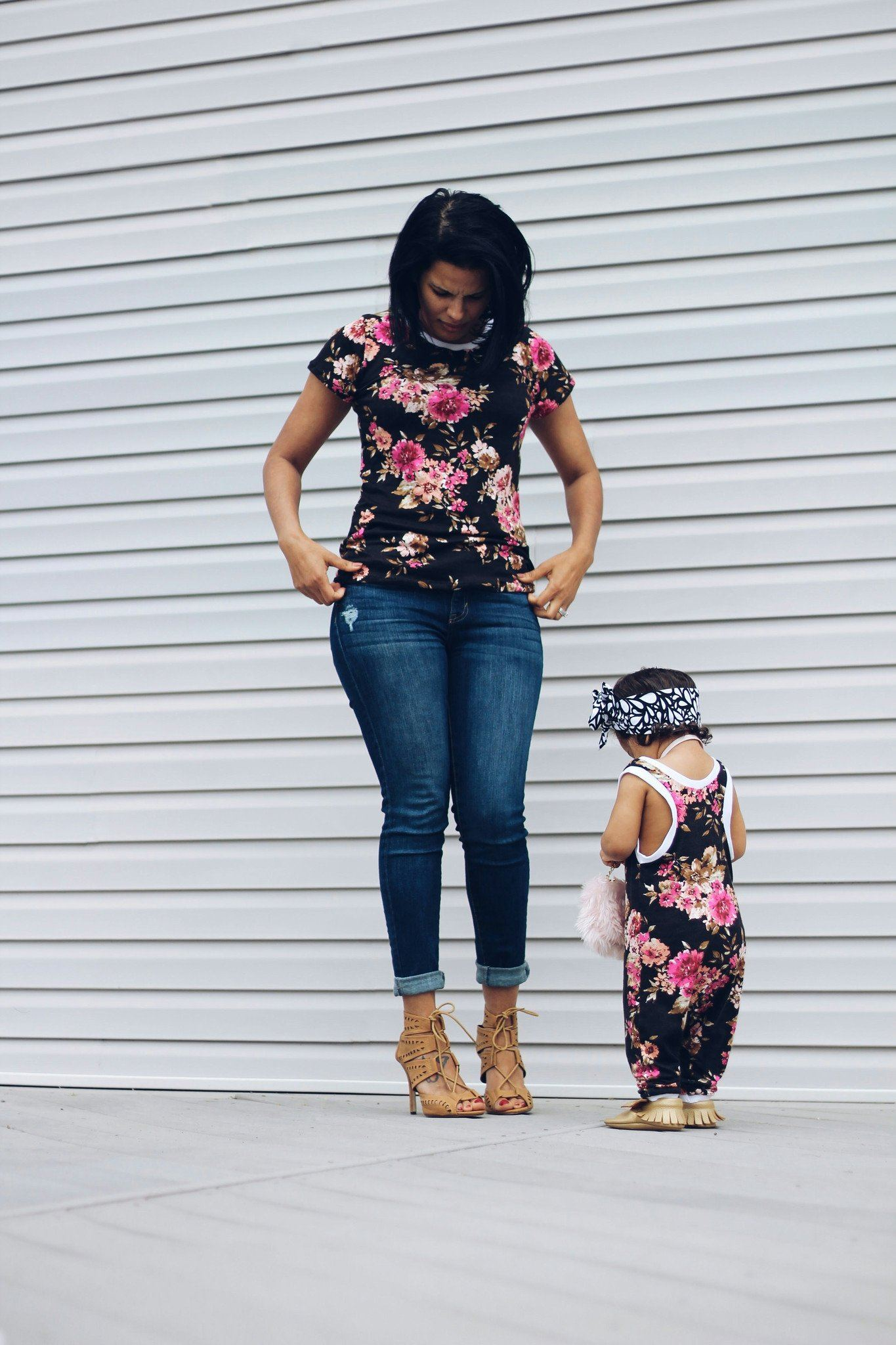 Top - Matching Mom And Daughter Outfit - Flower Romper And Shirt