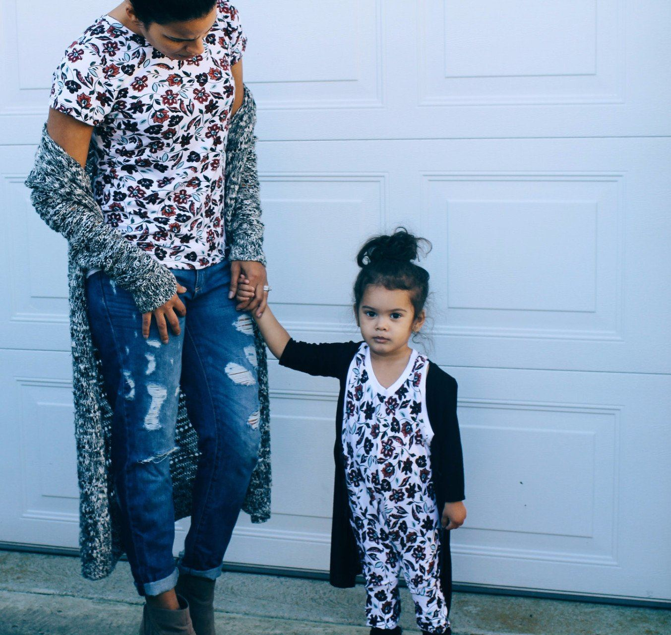 Top - Matching Mom & Daughter Outfit - Burgundy Flower Romper And Shirt