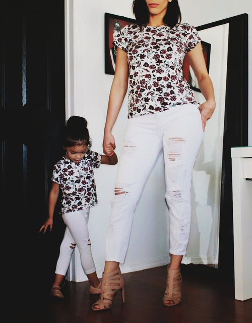 Top - Mommy And Baby Matching Shirts - Burgundy Floral Top's