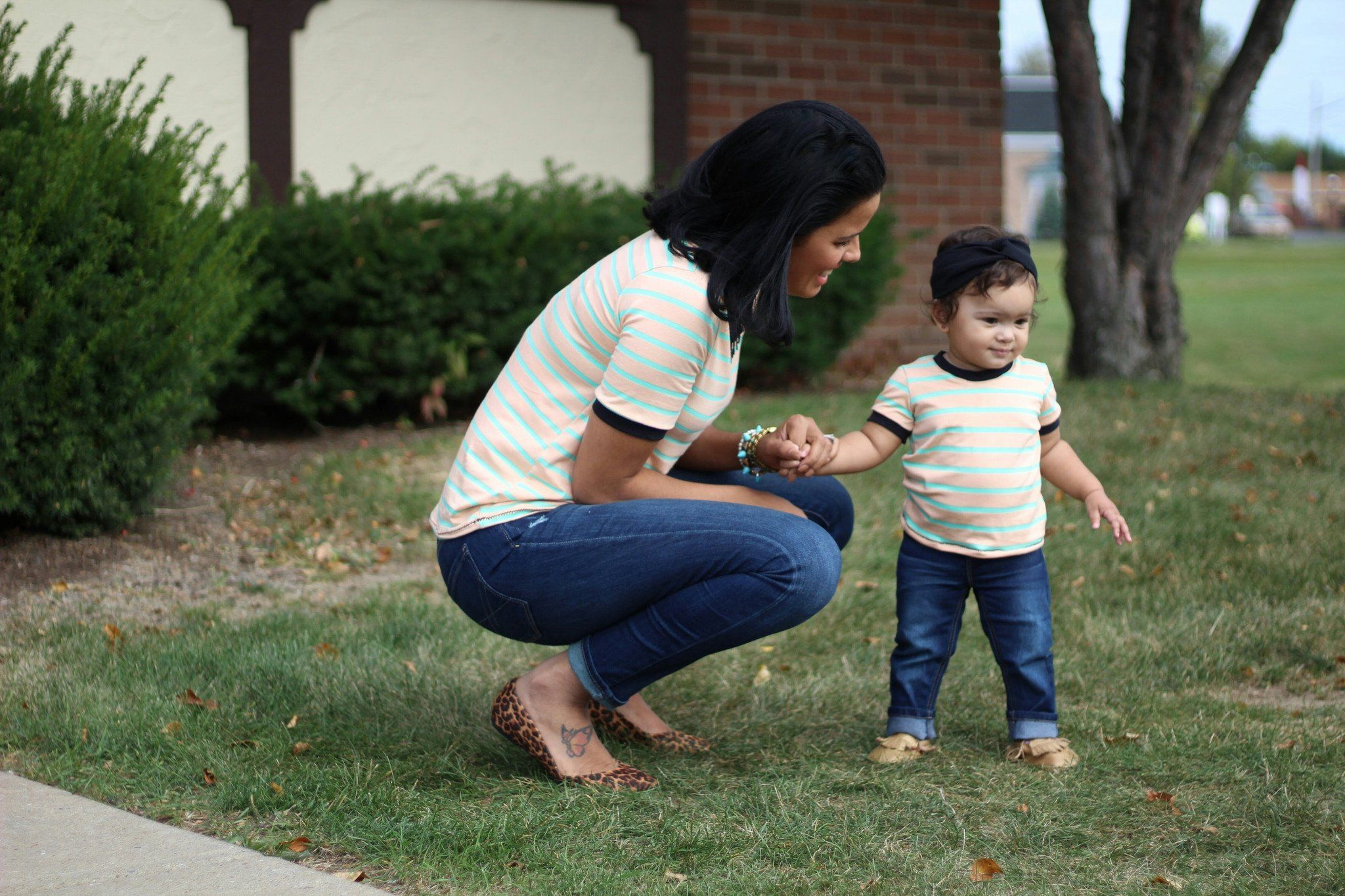 Top - Mommy And Baby Matching Shirts - Peach Mint
