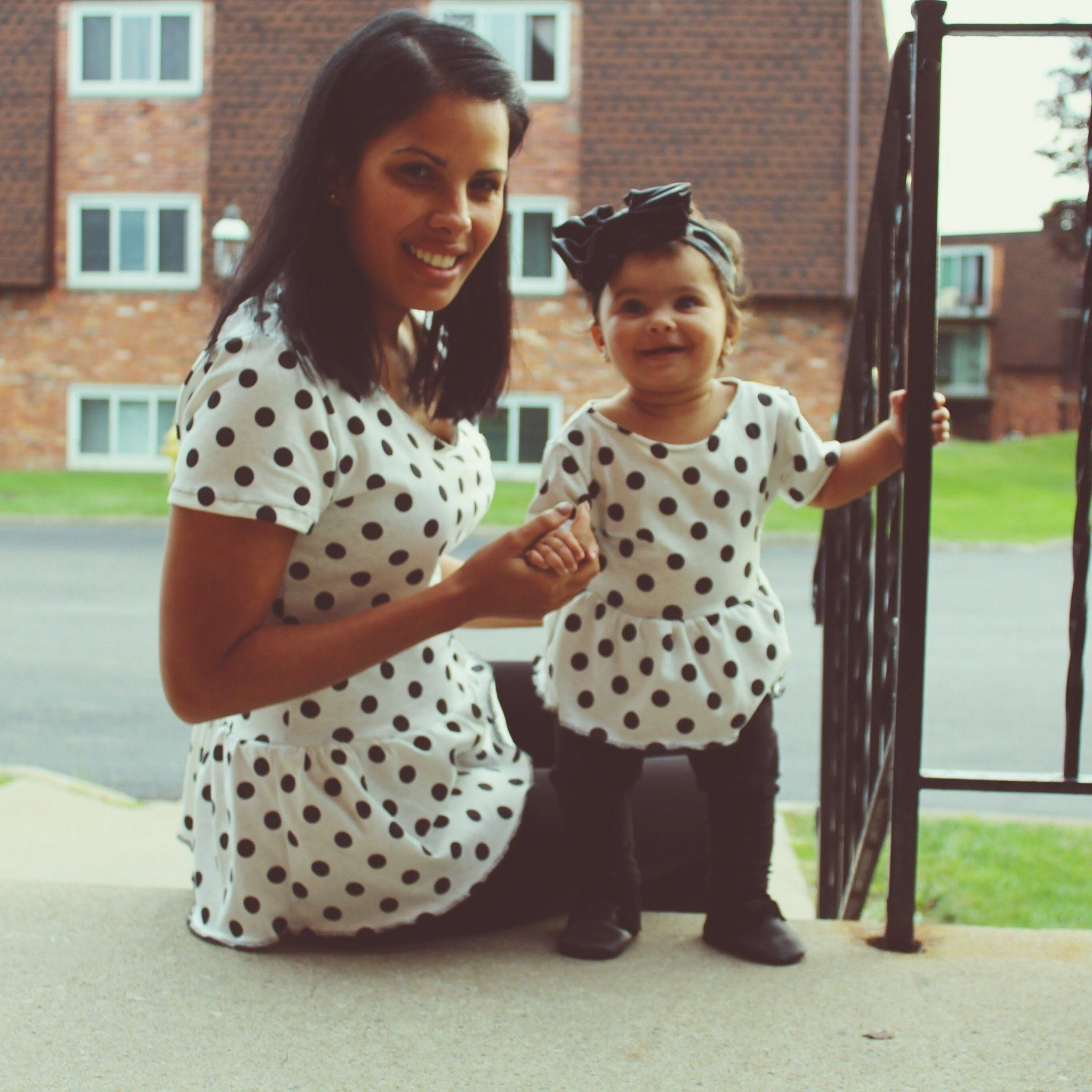 Top - Peplum Polka Dot Shirts For Baby Girl And Mom - Matching Set
