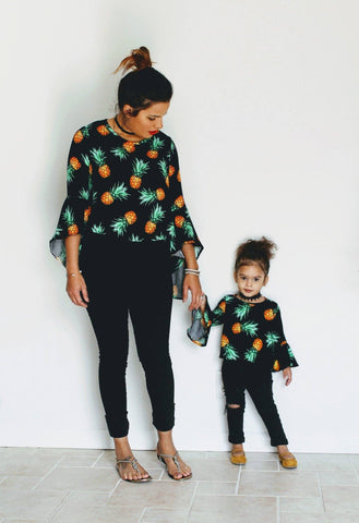 Mommy and Me Matching Sweaters - Black and Coral Cheetah Print