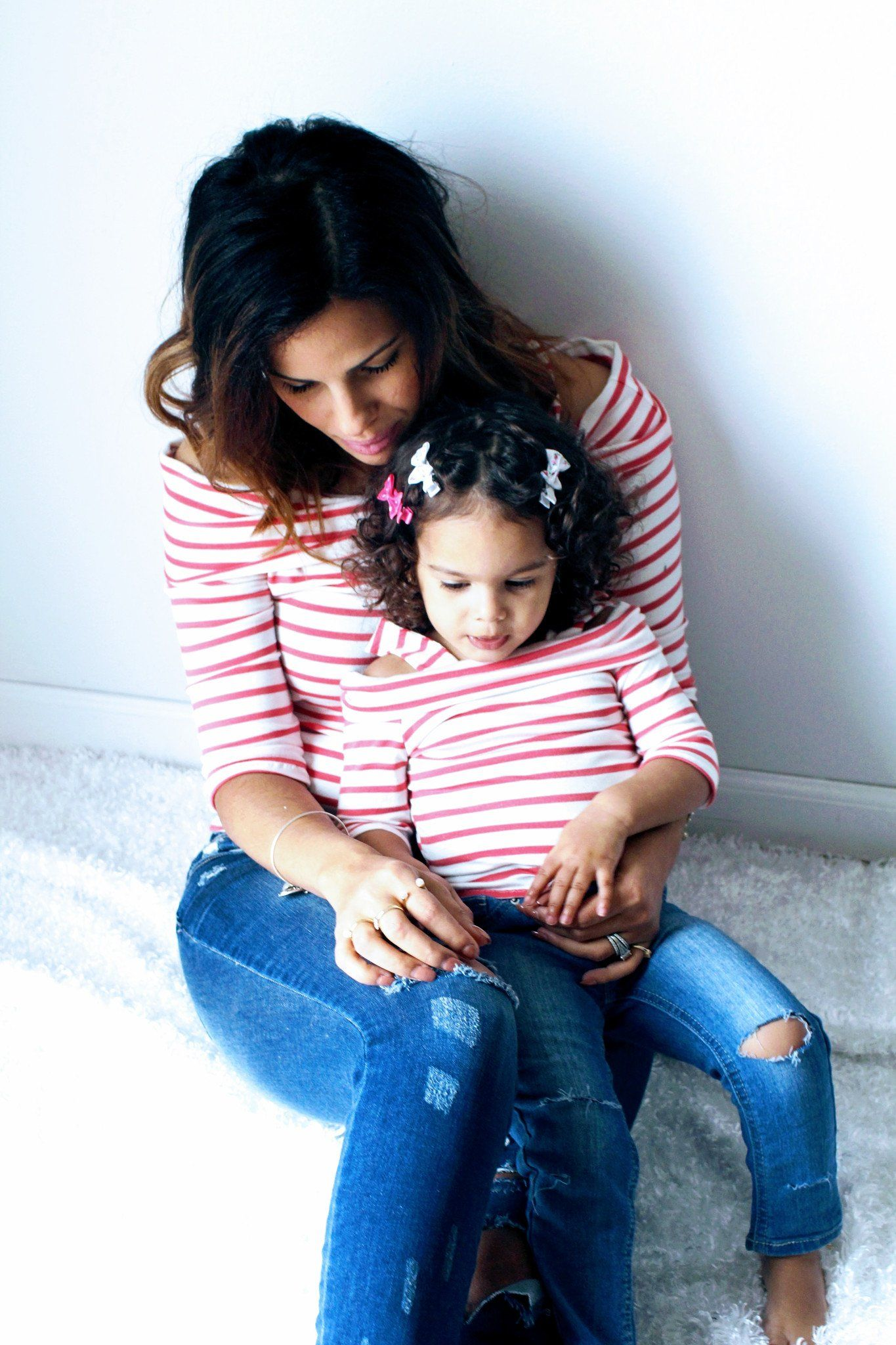 Top - Pink & White Striped Shirts - Mom & Daughter Off The Shoulder Tops