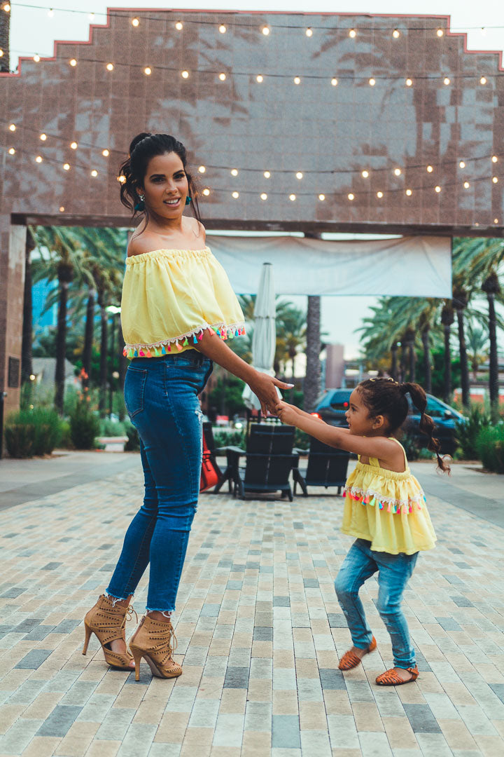 yellow crop tops for mom and girl