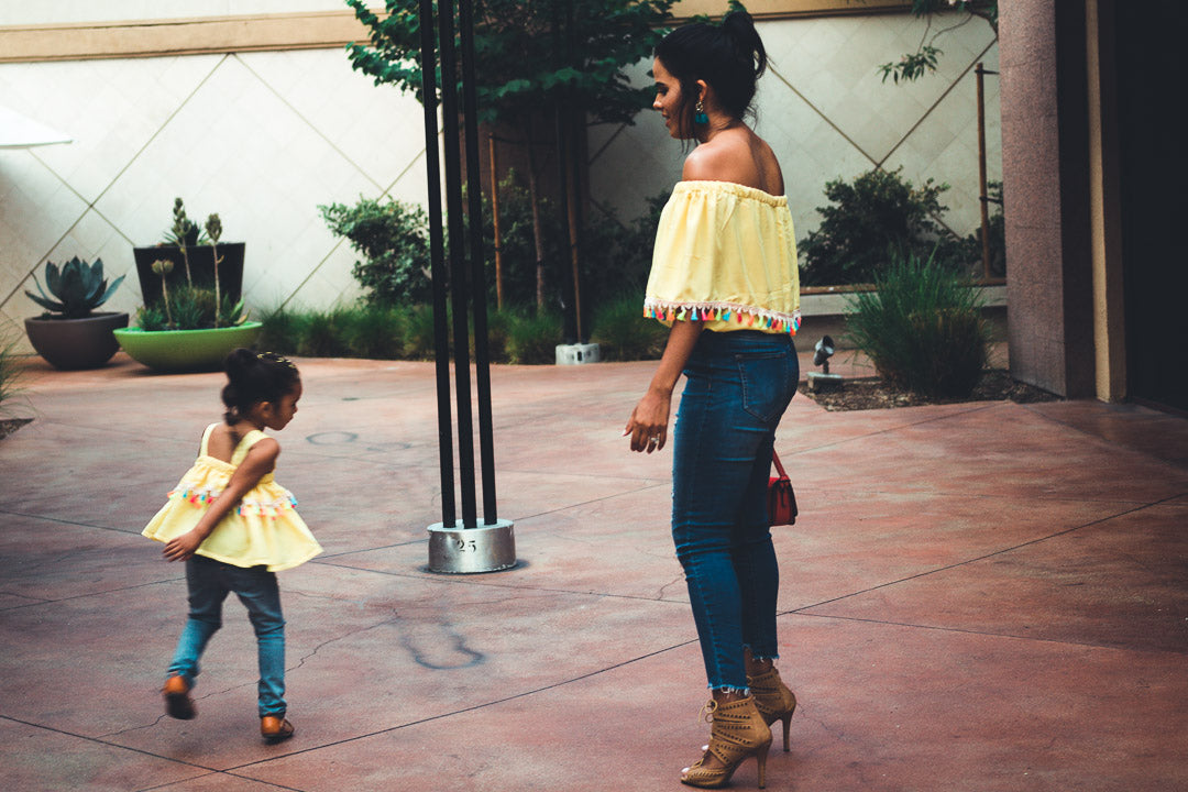 yellow matching top set for mother and daughter