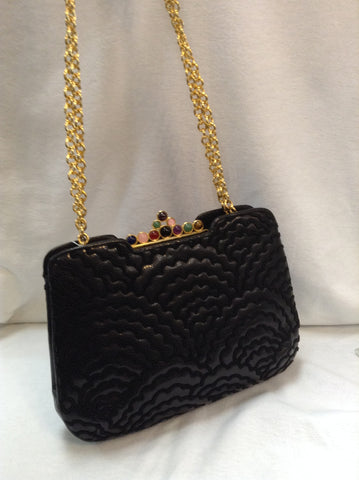 Vintage Judith Leiber shoulder bag. Gems Golden Comb hardware. Black Snakeskin