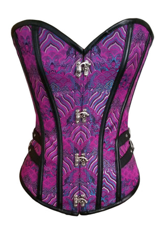 2pcs 14 Steel Bones Buckle Sides Lace up Purple Overbust Corset