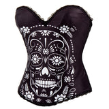 Lovely Black Skull Overbust Corset
