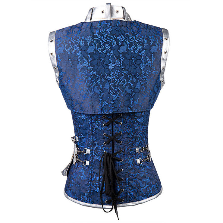 8cff12d7ad Steampunk Gothic Vintage Blue and Silver Steel Boned Corset – Vyylets