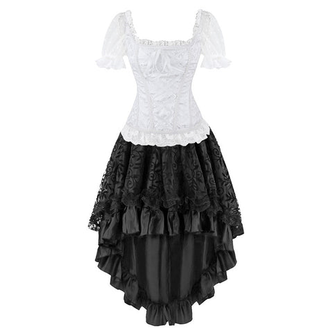 Bridal Jacquard Short Sleeves Corset Top Skirt Set