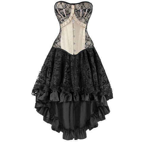 Burlesque Lace Overbust Corset With Lace Dancing Skirt Set