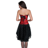 Burlesque Lace Overbust Corset With Lace Dancing Skirt
