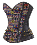 Steampunk Goth Dark Brown Steel Boned Jacquard Overbust Corset