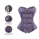 Purple Buckle Brocade Corset Top & Skirt Set