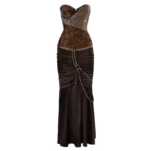Sexy Steampunk Gothic Brown Corset Skirt Set