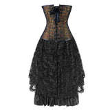 2Pcs Vintage Gothic Victorian Brocade Embroidery Overbust Corset With Lace Dancing Skirt Set