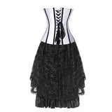 Elegant Vintage Lace Overbust Corset With Lace Dancing Skirt Set