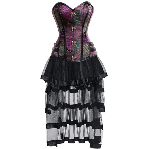 Charming Sexy Vintage Jacquard Overbust Corset And Skirt Set