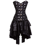 Sexy Skull Print Steel Boned Corset Dress