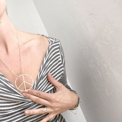 Oversized Peace Sign Pendant Necklace